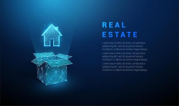 추상 파란색 열기 상자와 집 아이콘입니다. 낮은 폴리 스타일 디자인. 벡터.
