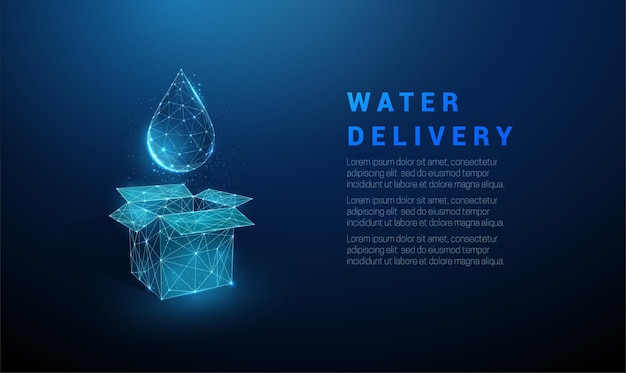 抽象的な青いオープンボックスと水滴。配水サービス。低ポリスタイルのデザイン。ワイヤーフレームライト接続構造。モダンなグラフィックコンセプト