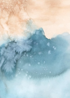 Abstract blue orange watercolor hand-painted for background. stains artistic vector used as being an element in the decorative design of header, poster, card, cover, or banner. brush included in file.