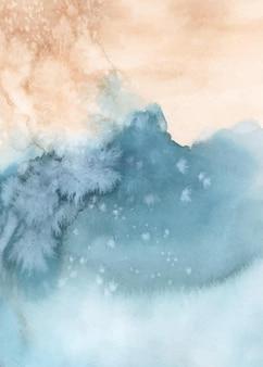 Абстрактный синий оранжевый акварель ручная роспись для фона. художественный вектор пятен используется как элемент декоративного оформления заголовка, плаката, открытки, обложки или баннера. кисть включена в файл.