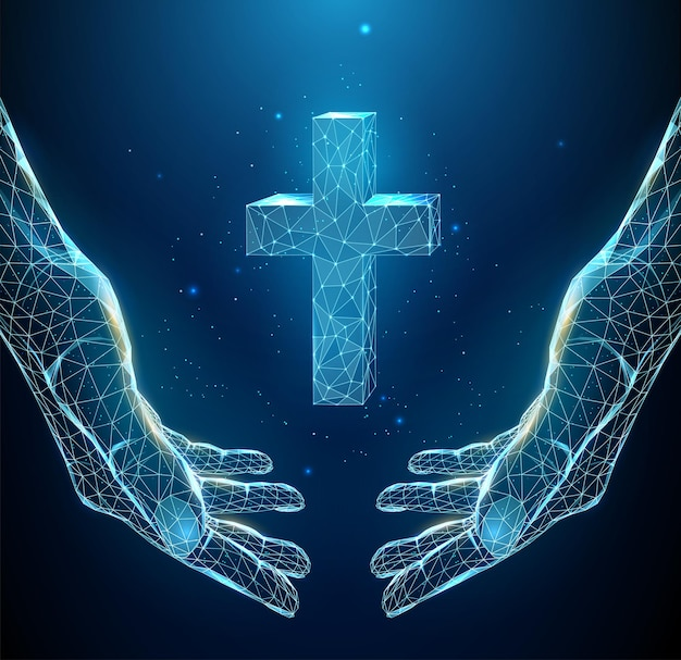 Abstract blue pair of hand holds cross. low poly style . religious christian concept.  wireframe light connection structure. isolated  illustration.
