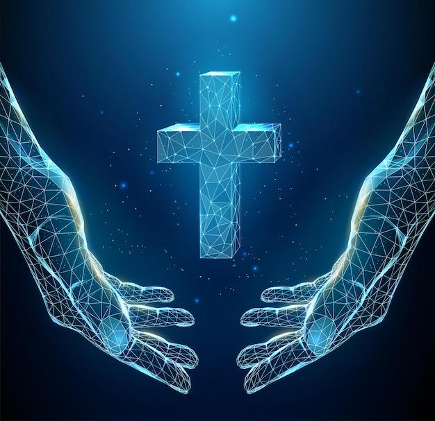 手の抽象的な青いペアは十字架を保持します。低ポリスタイル。宗教的なキリスト教の概念。ワイヤーフレームライト接続構造。孤立したイラスト。
