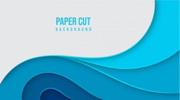 Abstract blue paper cut background design