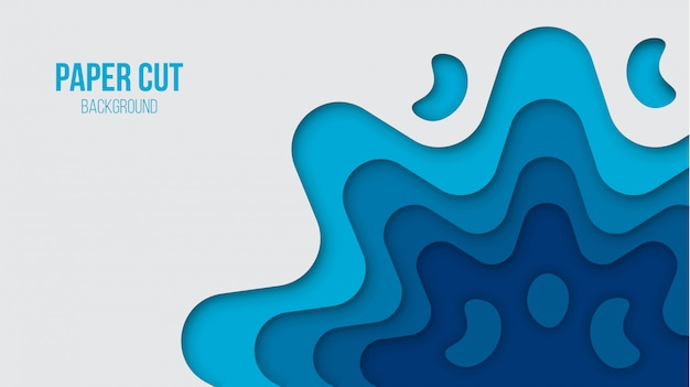 Abstract blue paper cut background