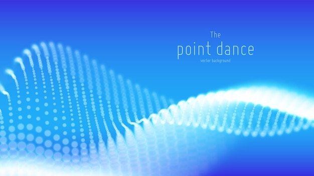 Abstract blue particle wave background