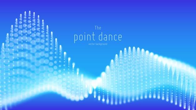 추상 파란색 입자 파, 점 배열, 얕은 피사계 심도. 미래의 그림입니다. 기술 디지털 스플래시 또는 데이터 포인트의 폭발. 포인트 댄스 파형.