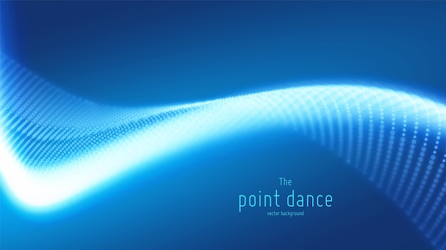抽象的な青い粒子波、ポイント配列、浅い被写界深度。未来のイラスト。テクノロジーのデジタルスプラッシュまたはデータポイントの爆発。
