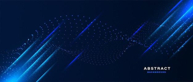 Абстрактная синяя волна частиц с фоном света ecffect