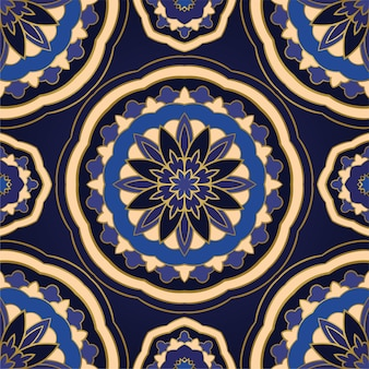 Abstract blue pattern with mandalas.