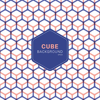 Abstract blue and pink geometric cube pattern hexagons