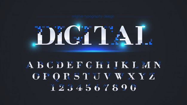 Abstract blue pixel typography design