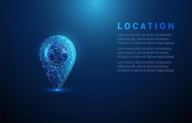 ピンの内側の抽象的な青い惑星地球。低ポリ。
