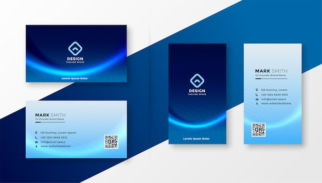 Abstract blue professional business card with wave effect