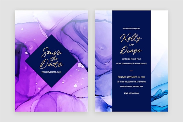 Abstract blue and purple alcohol ink wedding invitation