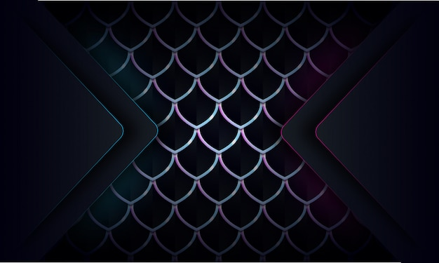 Abstract blue and purple glow line on dark abstract pattern background