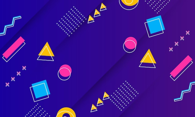 Abstract blue and purple gradient texture with memphis element vector illustration