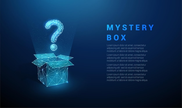 Абстрактный синий вопросительный знак, летящий из открытого ящика. дизайн в низкополигональном стиле.