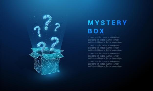 開いたボックスから飛んでいる抽象的な青い疑問符。低ポリスタイルのデザイン。