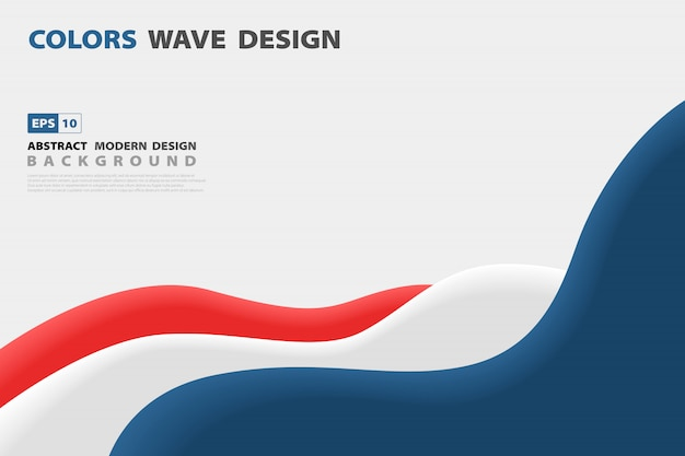 Abstract blue and red contrast wavy business design template background.