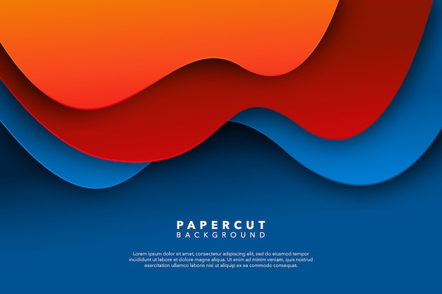 Abstract blue red paper cut background