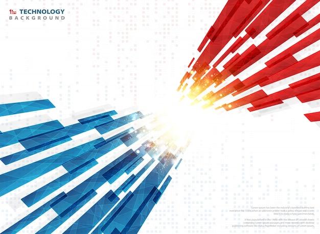 황금 빛 디지털 배경으로 기하학적 추상 파란색 빨간색 기술 라인.