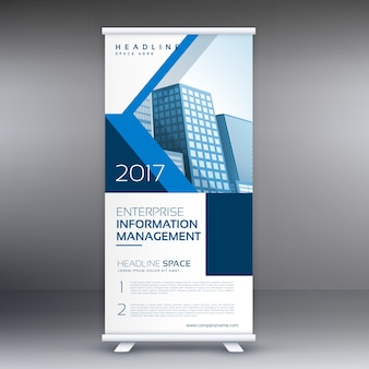 Abstract blue roll up banner design