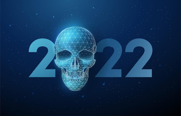 Abstract blue scull and number 2022 new year greeting card