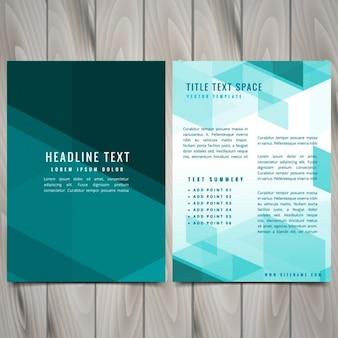 抽象的な青形状パンフレットチラシデザイン