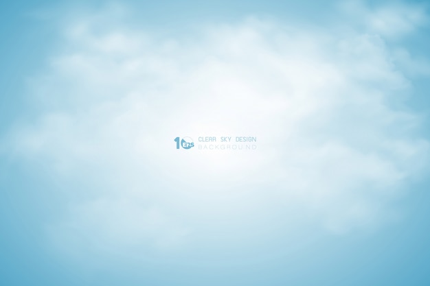 Abstract blue sky with clouds decoration in center set