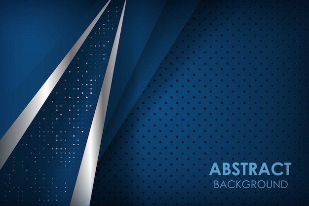 Abstract blue sliver line background with navy overlap layers. texture with glitters dots element decoration.