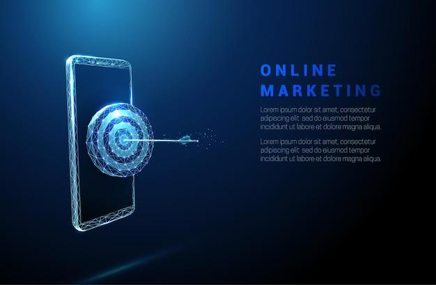 中央にダーツボードと矢印が付いた抽象的な青いスマートフォン。オンラインマーケティングの概念。低ポリスタイル。幾何学的なワイヤーフレームライト接続構造。現代の3dグラフィック。ベクトルイラスト。