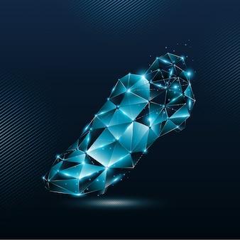 線と輝く粒子ポイント接続ネットワークから抽象的な青いサッカーブーツ