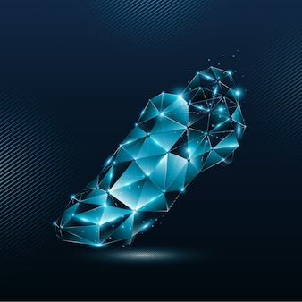 Abstract blue soccer boots from lines and shining particles point connecting network