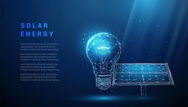 전구를 가진 추상 파란색 태양 전지 패널