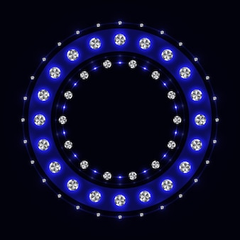 Abstract blue sparkling ring on black background.
