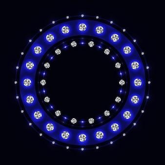 黒の背景に抽象的な青いスパークリングリング。