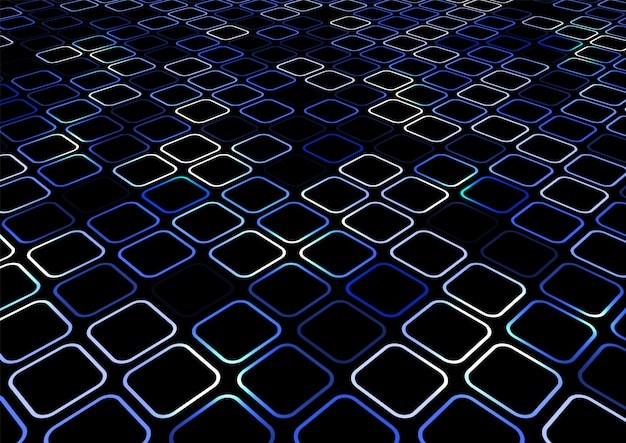 Abstract blue square border perspective background