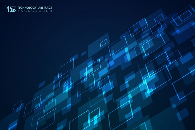 Abstract blue square pattern of modern futuristic design background.