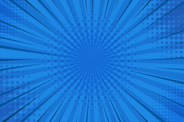 Abstract blue striped retro comic background with halftone corners.