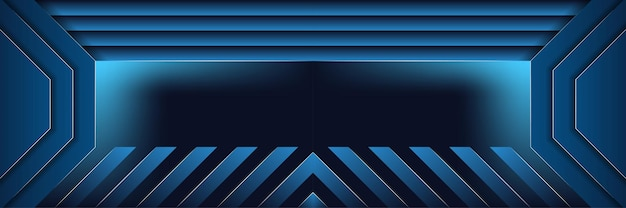 Abstract blue stripes background half papercut of octagon shape design template