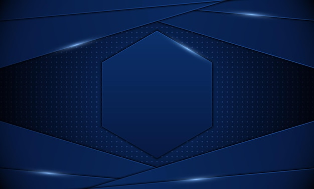 Abstract blue stripes with hexagonal in the middle .banner background. vector illustration.