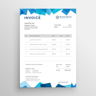 Abstract blue stylish invoice template