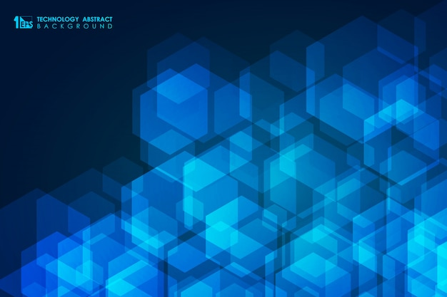 Abstract blue technology design of geometric hexagonal pattern design background.