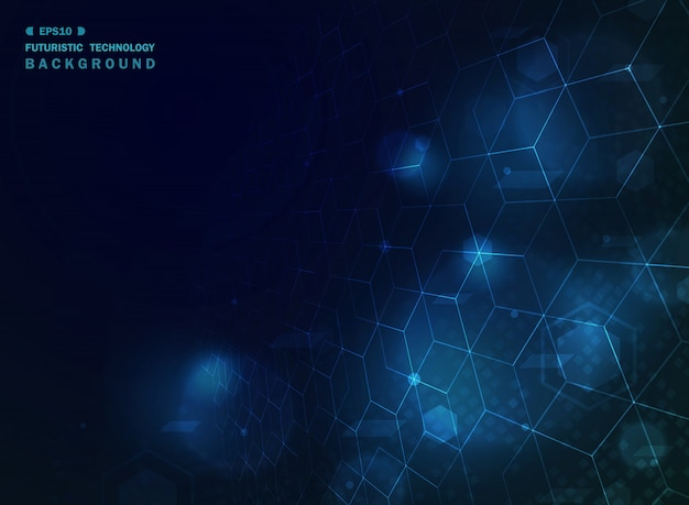 Abstract blue technology geometric background with effect