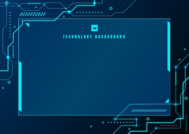 Abstract blue technology geometric electronic circuit background