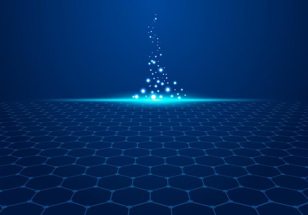 光と背景に抽象的なブルーテクノロジー六角形パターンは粒子を爆発させます。