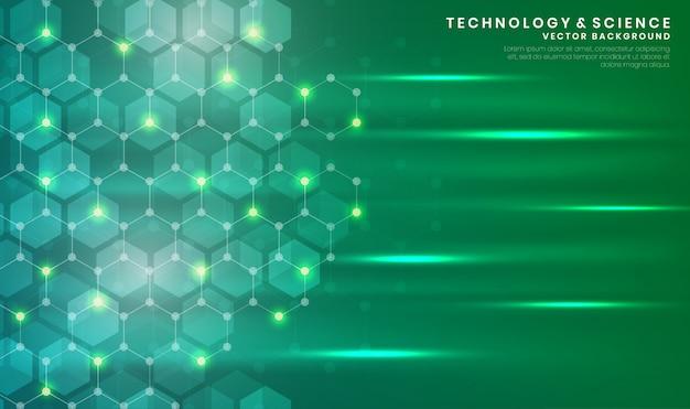 六角形と抽象的な青い技術や科学の背景