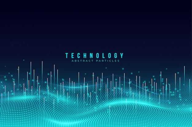 Abstract blue technology particles background