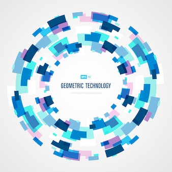 Abstract blue technology square circle color of futuristic background.