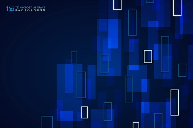 Abstract blue technology square pattern design cover background.